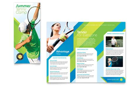 sports brochure templates free tennis club c tri fold brochure template design