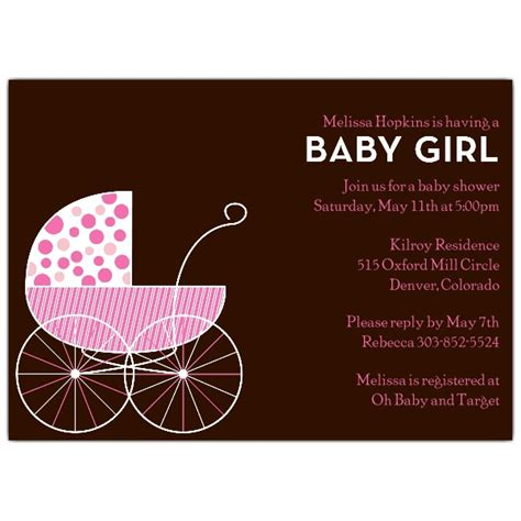 Big Baby Shower Invitations by Big Baby Carriage Pink Shower Invitations Paperstyle