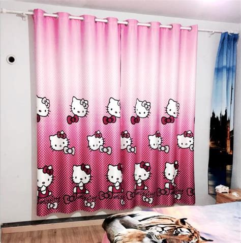 hello kitty drapes cartoon children room curtain pictures bedroom curtains