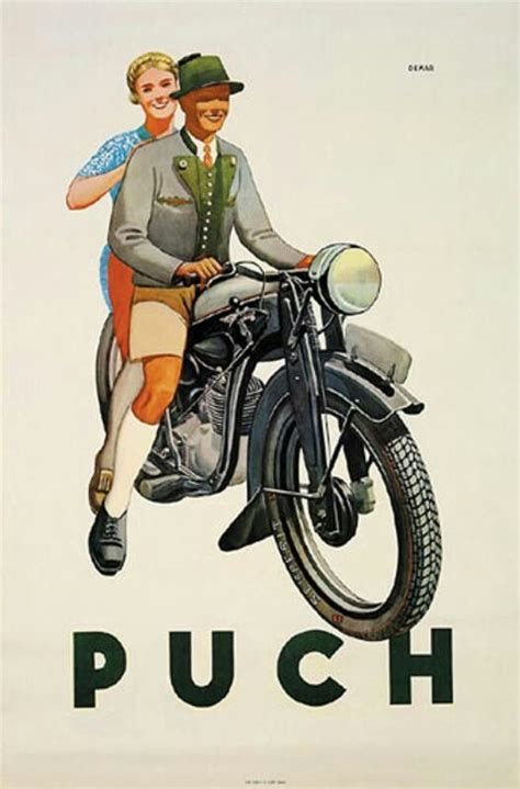 Alte Motorrad Plakate by Puch Vintage Poster 1937 Motorcycle Posters