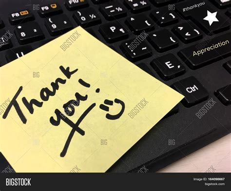 thank you letter to computer thank you note on office computer image photo bigstock