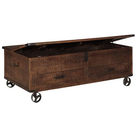 coffee table with wheels and storage signature design by ashley norlandon t938 20 rustic