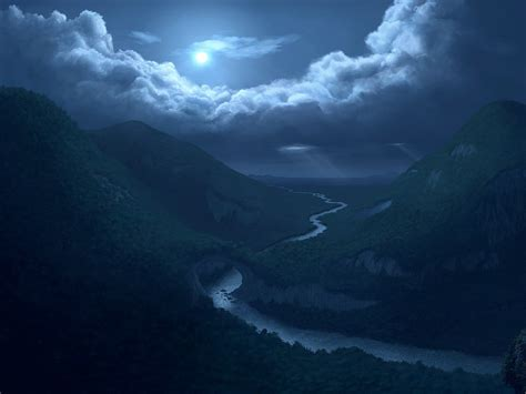 moon clouds mountains river wallpapers moon clouds