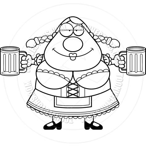 cartoon beer black and white cartoon oktoberfest woman beer black and white line art