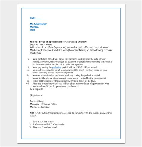 appointment letter format marketing executive appointment letter 22 sles in word doc pdf format