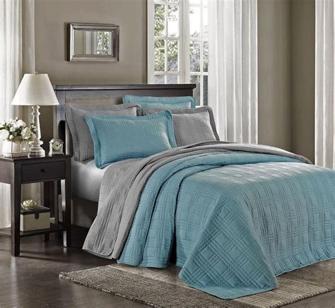 spa bedding 3 piece oversized 100 quot x106 quot plaid quilted bedspread