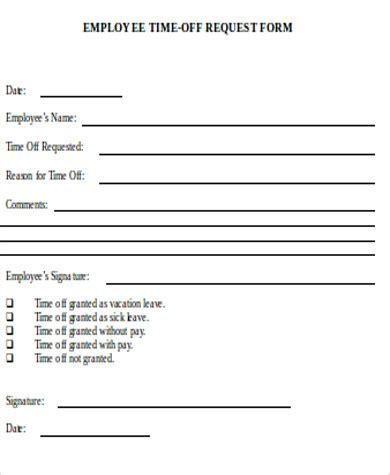 time off request form sle service work order request