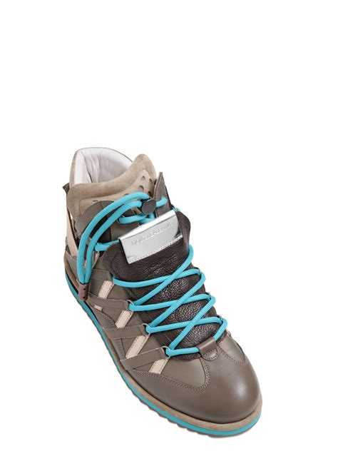 dg shoes for dolce gabbana grained leather high top sneakers in blue