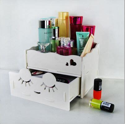 makeup desk organizer home desktop diy wooden storage box for cosmetics makeup