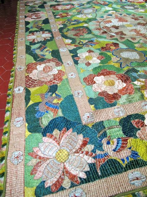 indo portuguese complete hanging bedspread  macao  perfect condition