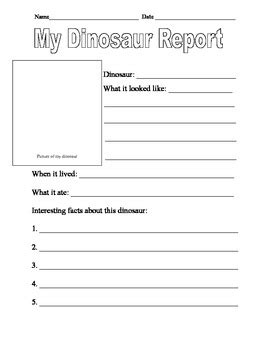 information report template for primary students dinosaur report template and dinosaur creative writing template tpt