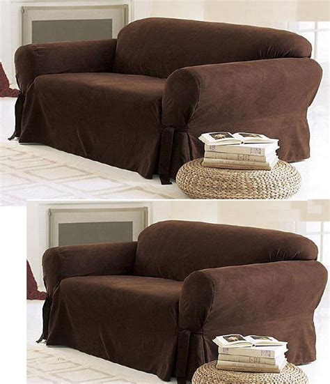 brown loveseat cover 2 pc soft micro suede couch sofa loveseat slip cover brown