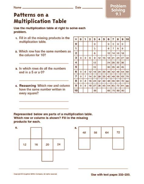 pattern tables math multiplication patterns worksheets 3rd grade patterns