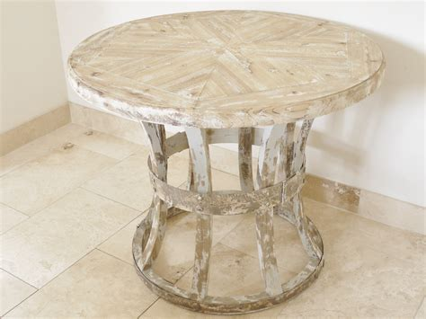 distressed wood round dining table round wooden distressed style dining table melody maison 174