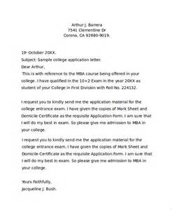 Business Letter Application For College Sample College Application Letter 7 Documents In Pdf Word