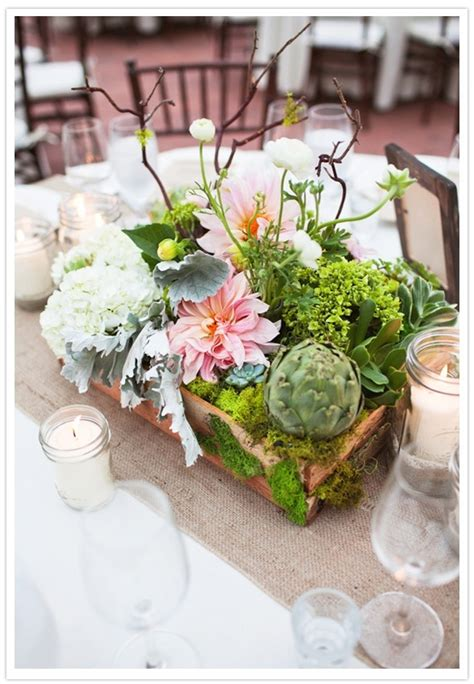 Centerpieces In Wooden Box Filled With White Hydrangea Succulent Wedding Centerpiece