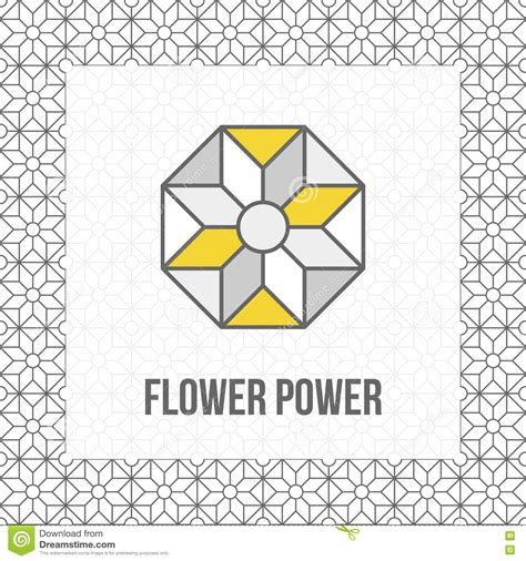 vector pattern matching geometric flower icon grey and yellow black line stock
