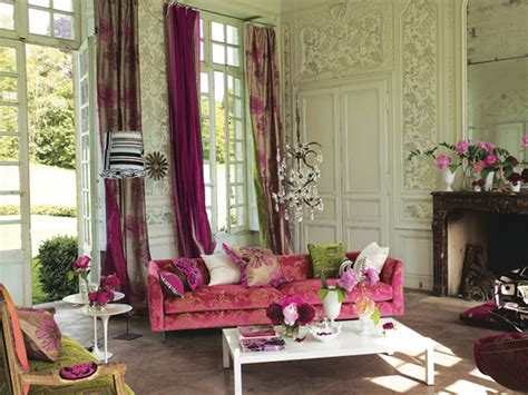 pink and green living room decorating with color