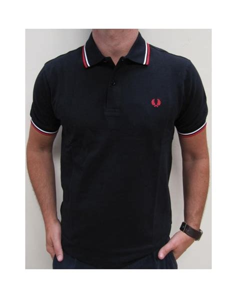 T Shirt Polo Fred Ferry fred perry tipped polo shirt navy white fred perry mens black polo shirt