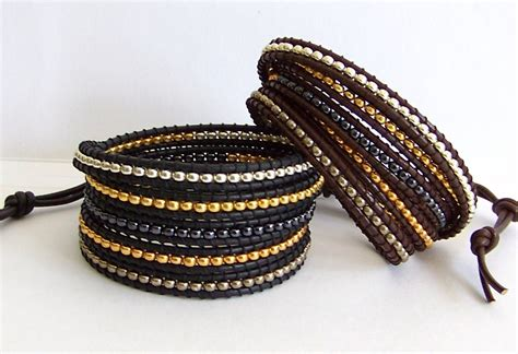leather and bead bracelet beaded leather wrap bracelet mixed metal miyuki bead