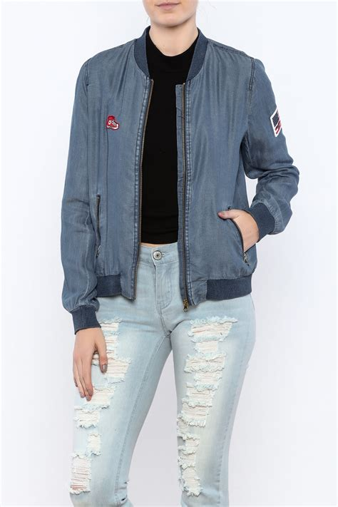 Blazer Toska toska patch up denim bomber from san diego by pretty seven boutique shoptiques