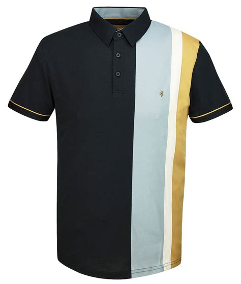 Panel Shirt gabicci vintage charcoal stripe panel polo t shirt