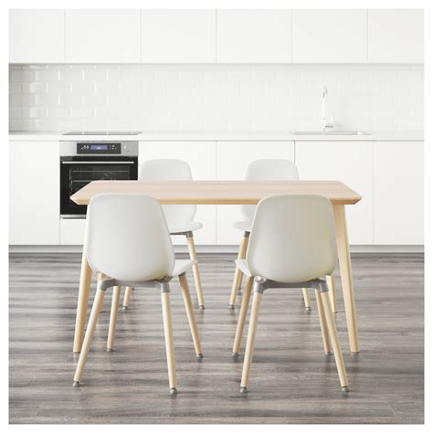 Ash Dining Table And Chairs Leifarne Lisabo Table And 4 Chairs Ash Veneer White 140x78