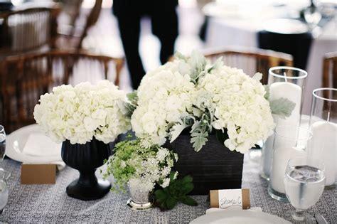 white hydrangea wedding centerpiece onewed com