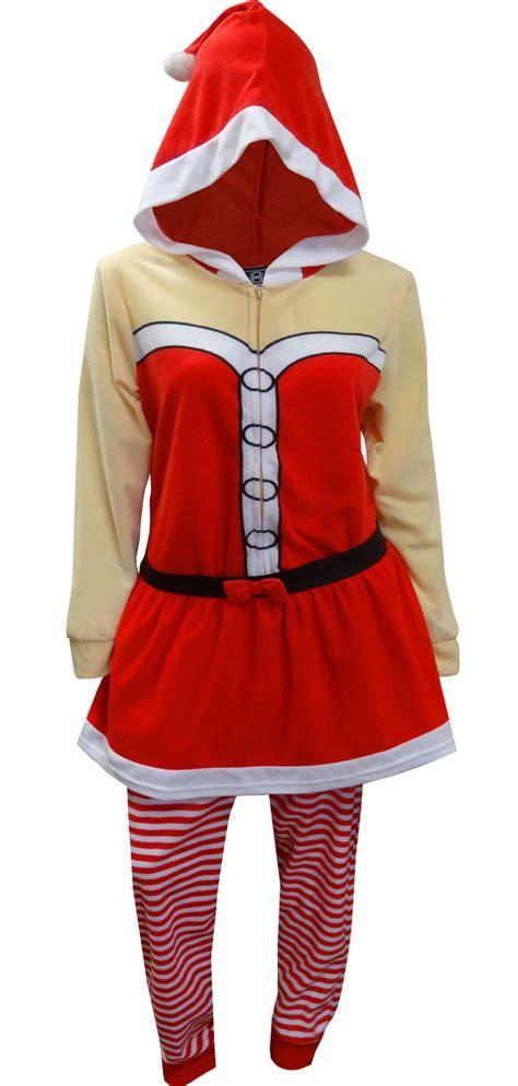 mrs claus pajamas webundies mrs santa claus one hooded skirted