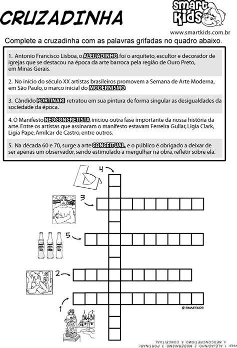 Atividade Arte Brasileira Cruzadinha - Atividades - Smartkids