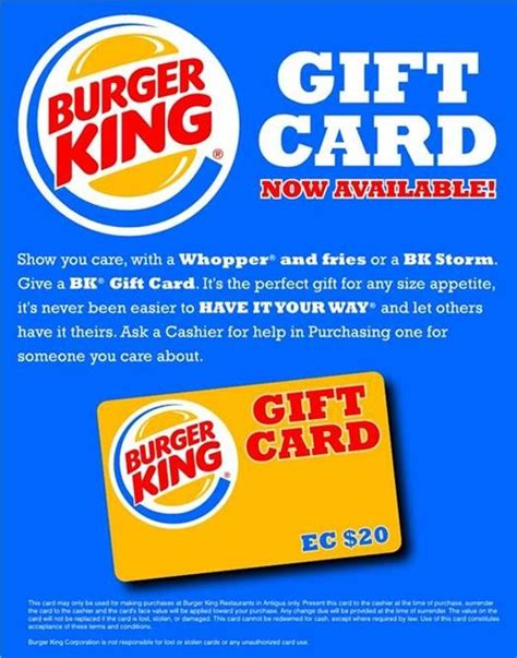 Burger King Gift Card - antigua restaurants burger king gift card now available