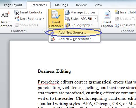 Inserting Citations In An Essay by Microsoft Bibliography Builder Word 2010