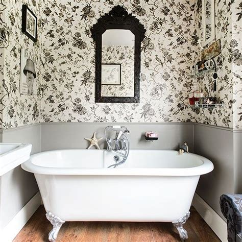 white bathrooms toile wallpaper  bathroom  pinterest