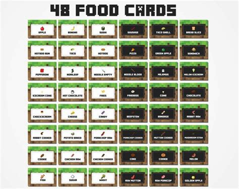food tent cards template 25 unique minecraft food labels ideas on