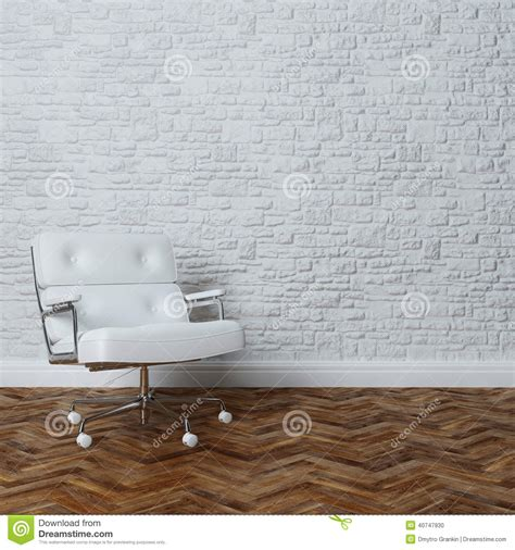 Leather Armchair Vintage White Brick Wall Interior With White Leather Office