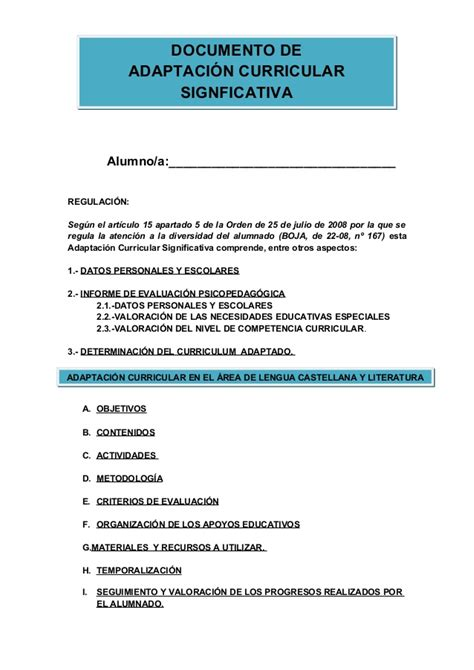 Modelo Adaptacion Curricular Significativa Ingles Adaptaci 243 N Curricular
