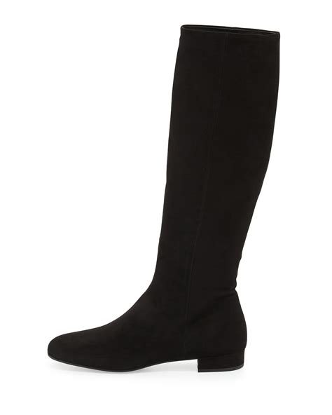 prada stretch suede boots in black lyst