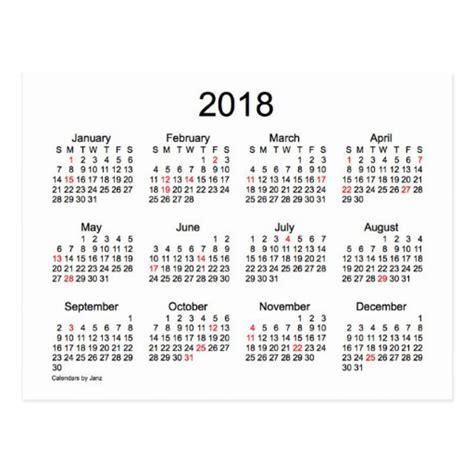 2018 Mini Calendar 2018 Mini Calendar By Janz With Holidays Postcard Zazzle