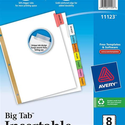 Avery 174 Worksaver 174 Big Tab Insertable Dividers 8 Tab Set 11123 Avery Online Singapore Worksaver Tab Inserts Template