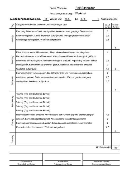 Wochenbericht Praktikum Vorlage Kfz Mechatroniker