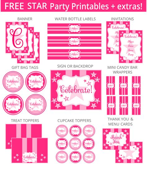 printable birthday decorations free free pink star party printables and more printabelle
