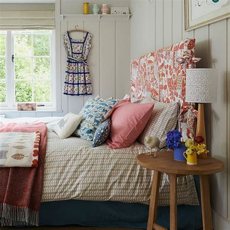bedroom fabric ideas panelled bedroom with fabric headboard and oak side table