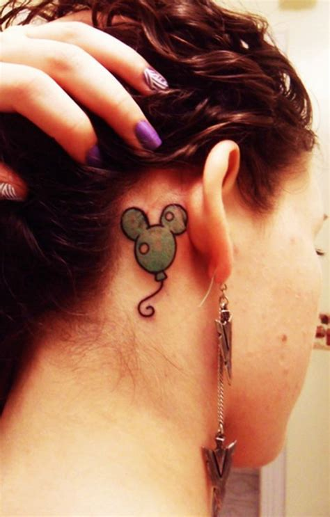 lips tattoo behind the ear meaning mickey mouse balloons mouse tattoos and cute tattoos on