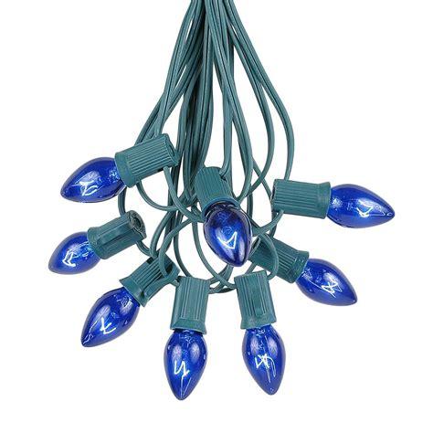 c7 blue light strings 100 blue c7 light set on green wire novelty lights inc