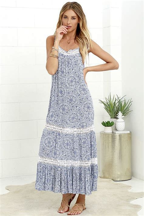 blue maxi dress shopstyle unknown island blue and ivory print lace maxi dress on