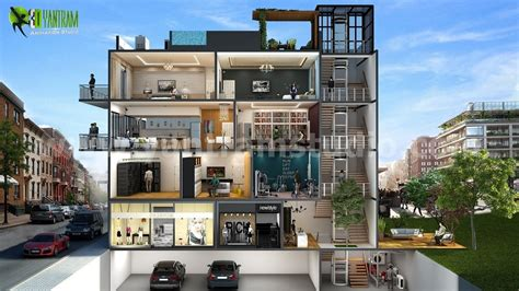 multi story home design rendered in 3d using plan3d com different types of multi story 3d cut section home design