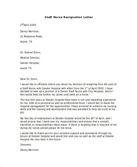 resignation letter format rn two weeks notice nursing resignation