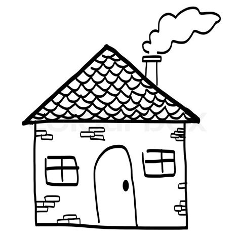 Simple Cottage House Plans drawing of a house in a cartoon style hand drawing sketch