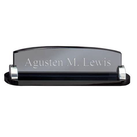 engraved desk name plates smoked glass personalized desk name plate