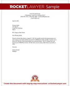 Rental Increase Letter Template by Rent Increase Letter With Sle Notice Of Rent Increase